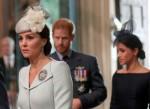 Il principe Harry della Gran Bretagna, sua moglie Meghan, il duca e la duchessa di Sussex e Catherine, duchessa di Cambridge arrivano all'Abbazia di Westminster per un servizio in occasione del centenario della Royal Air Force