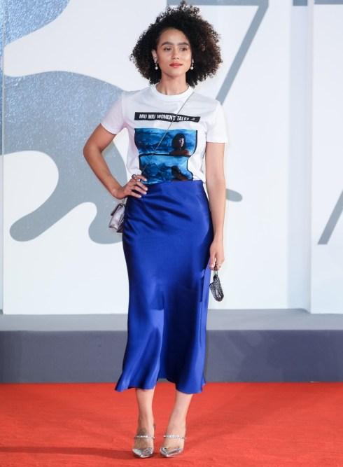 Nathalie Emmanuel posa sul tappeto rosso per Revenge Room durante la 77a Mostra Internazionale del Cinema di Venezia (La Biennale Di Veneziale) lunedì 7 settembre 2020