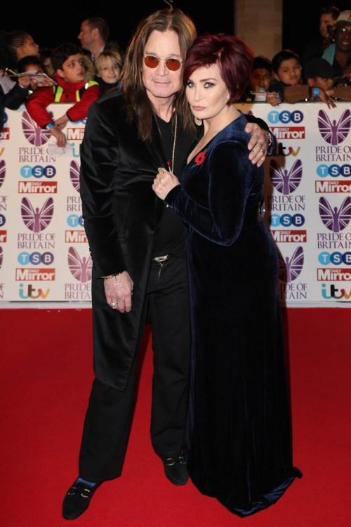 Ozzy Osbourne e Sharon Osbourne arrivano per il Pride of Britain Awards, Grosvenor House, Londra, Regno Unito