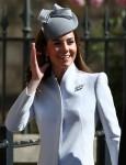 La duchessa di Cambridge arriva per il servizio della domenica di Pasqua al Castello di Windsor, nel Berkshire. 21 aprile 2019