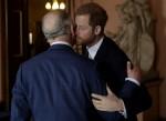 Il principe Harry della Gran Bretagna bacia e saluta suo padre il principe Carlo al loro arrivo separato per partecipare a un incontro sulla salute e la resilienza della barriera corallina con discorsi e un ricevimento con i delegati alla Fishmongers Hall di Londra, mercoledì 14 febbraio 2018.