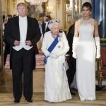 ROYAL ROTA Sua Maestà la Regina e Presidente degli Stati Uniti d'America al banchetto di Stato, Buckingham Palace, London, England, Regno Unito