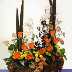 Christmas Decorating Ideas For The Kitchen Sink Accessories Orange-copper-bronze Flower Arrangement ...