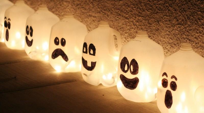 Milk Carton and Jug Halloween Luminaries - Outdoor Halloween Decorations