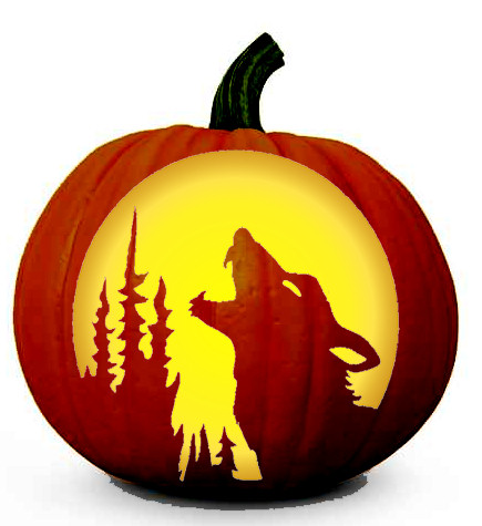 howling wolf pumpkin carving pattern