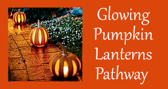 Glowing Pumpkin Lanterns Pathway - Outdoor Halloween Decorating