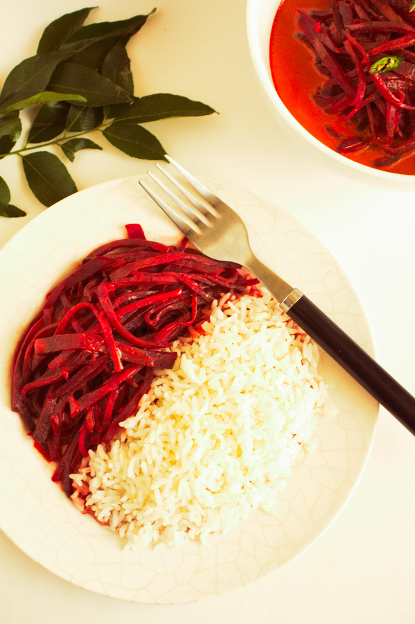 Healthy Beetroot Curry  These Ruby-red strips coated generously with creamy coconut curry sauce and accompanied with a bowl of warm rice is comfortingly delicious. Coconut milk and spices in the curry bring out the sweetness of beetroot, which makes you crave for more.