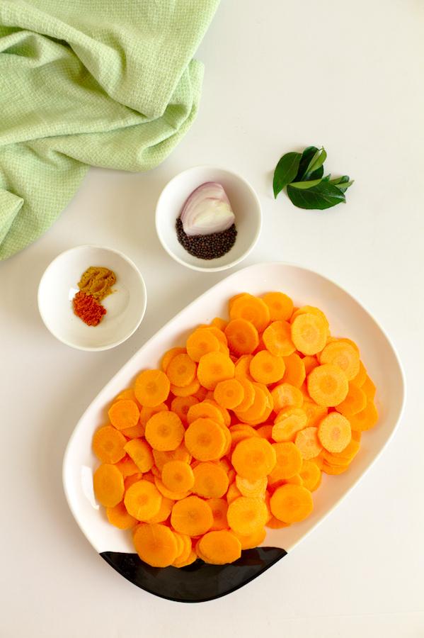 Ingredients for Sri Lankan style carrot stir-fry recipe.