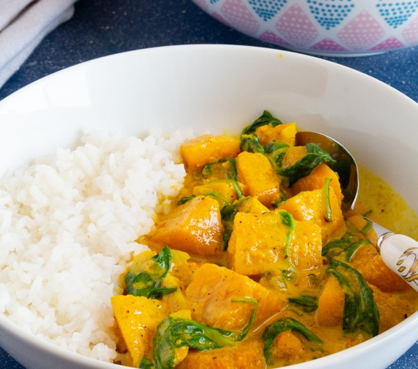 Butternut Squash  Coconut Curry  with Spinach
