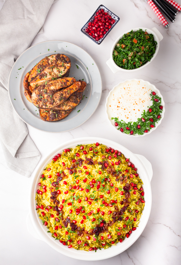 Middle eastern saffron rice with salmon