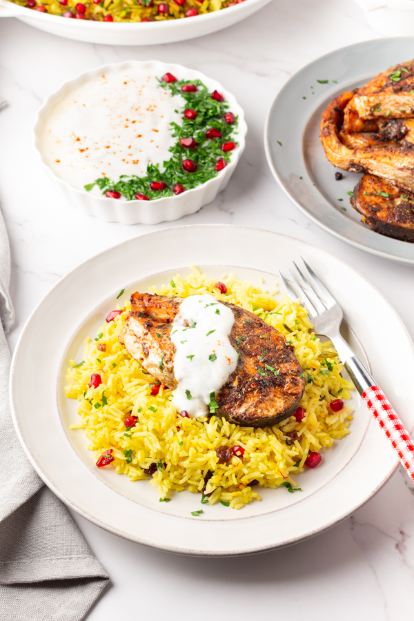 Middle eastern saffron rice with baked salmon