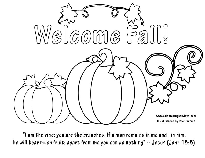 """free """"welcome fall"""" coloring page  bible verse"""