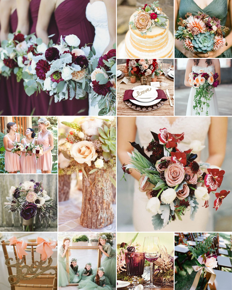 Merlot Peach Sage Weddings