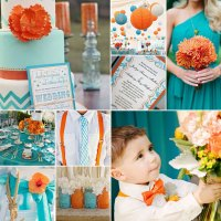 Turquoise and Orange Wedding Colours