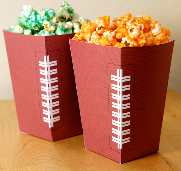 Football Party Free Popcorn Box Printable