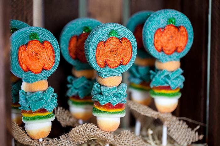 Little Pumpkin Rustic Fall Baby Shower Ideas - Candy Kabobs