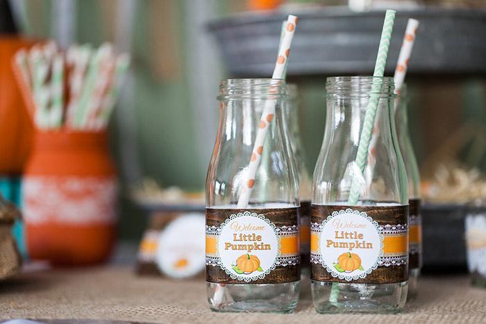 Rustic Fall Baby Shower Ideas - Little Pumpkin Water Bottle Labels