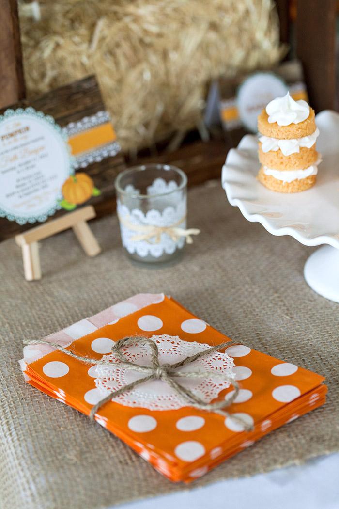 Little Pumpkin Rustic Fall Baby Shower Ideas - Polka Dot Favor Bags