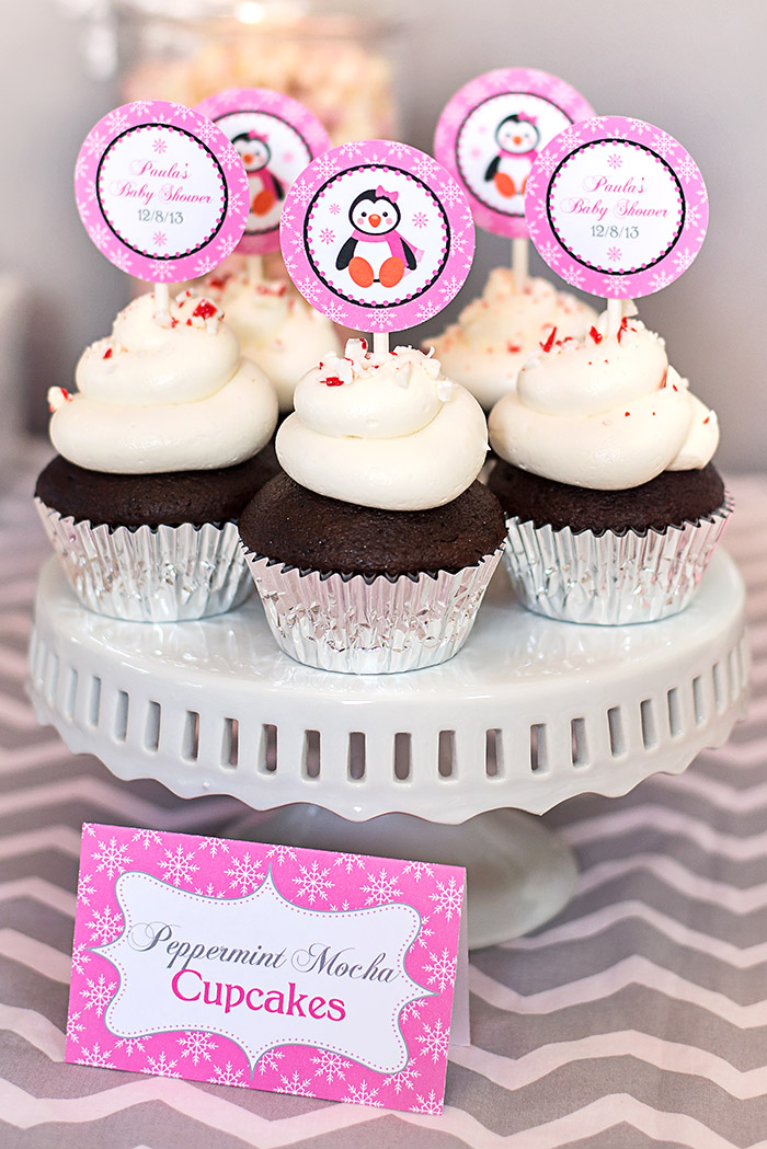 Winter Wonderland Penguin Peppermint Mocha Cupcakes and Cupcake Toppers