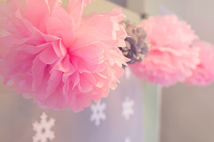 Pink and Silver Tissue Poms