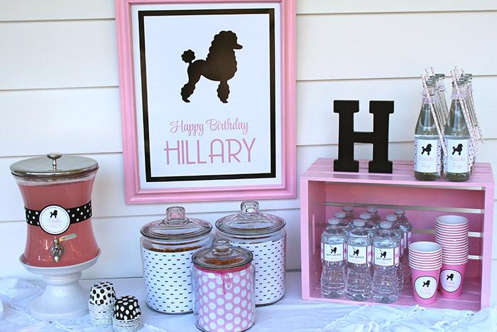 Pink Poodle Skirt Party Beverage Station