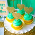 "St. Patrick's Day ""Lucky In Love"" Party - Cupcakes with Gold Glitter Hearts"