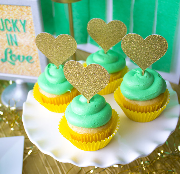 """St. Patrick's Day """"Lucky In Love"""" Party - Cupcakes with Gold Glitter Hearts"""