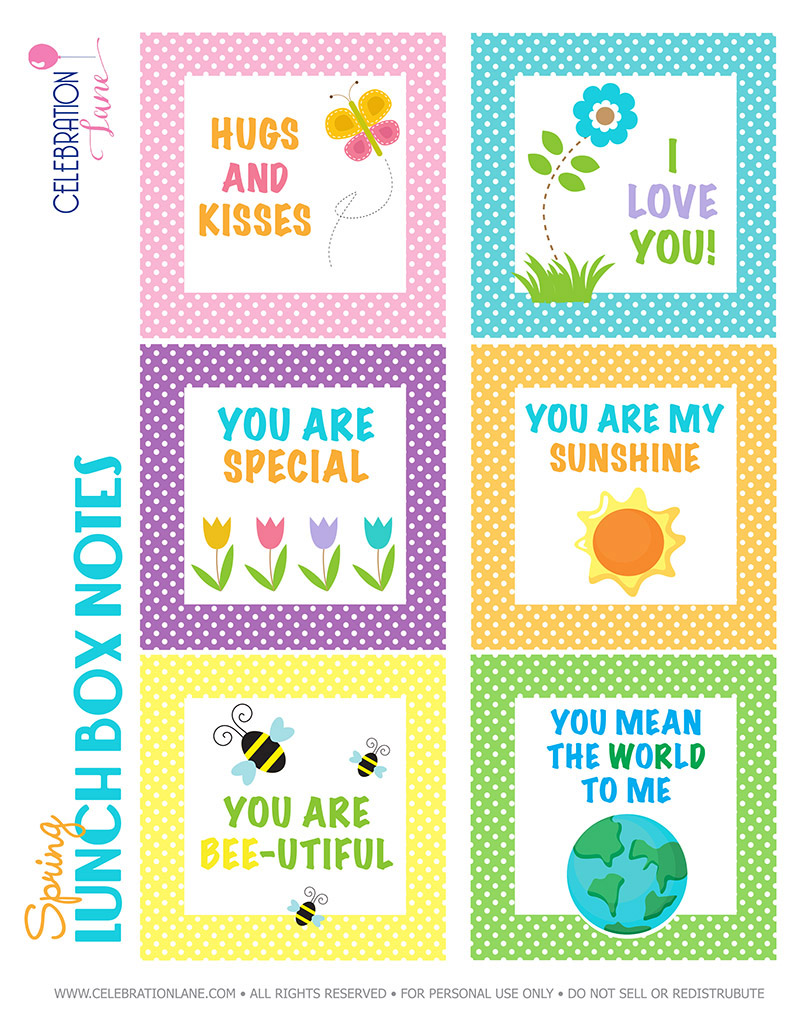 photograph regarding Free Printable Lunchbox Notes named Spring Lunch Box Notes with Cost-free Printable - Social gathering Lane