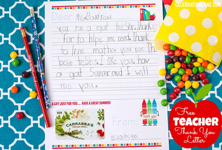 Free Teacher Thank You Letter Gift Idea
