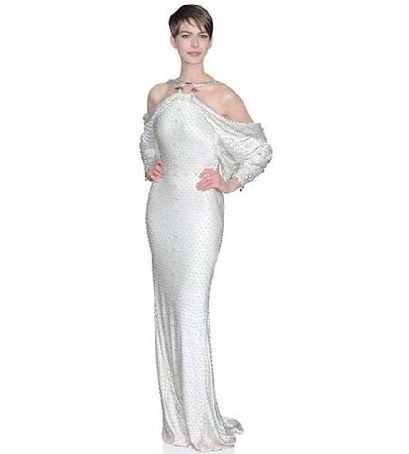 A Lifesize Cardboard Cutout of Anne Hathaway wearing a long white dress