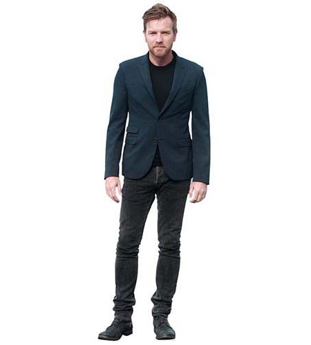 A Lifesize Cardboard Cutout of Ewan McGregor wearing a suit and t-shirt