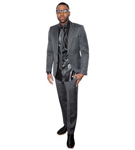 A Lifesize Cardboard Cutout of Jason Derulo wearing a grey suit and tie