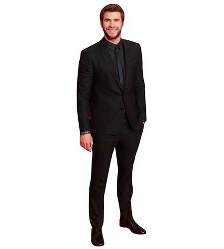 A Lifesize Cardboard Cutout of Liam Hemsworth looking smart