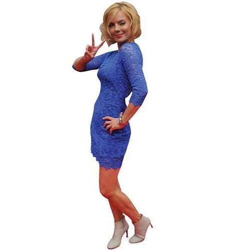 A Lifesize Cardboard Cutout of Geri Halliwell wearing a short blue dress