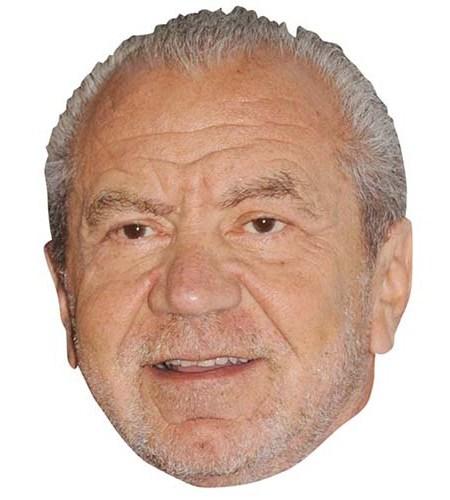 A Cardboard Celebrity Mask of Alan Sugar