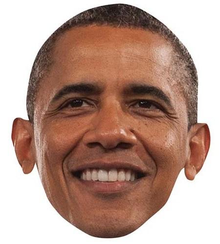 A Cardboard Celebrity Mask of Barak Obama