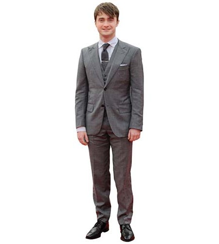 A Lifesize Cardboard Cutout of Daniel Radcliffe wearing a grey suit and tie