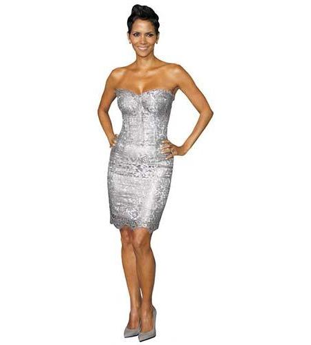 A Lifesize Cardboard Cutout of Halle Berry wearing a silver dress