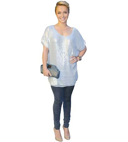 A Lifesize Cardboard Cutout of Hayden Panettiere wearing a long jumper