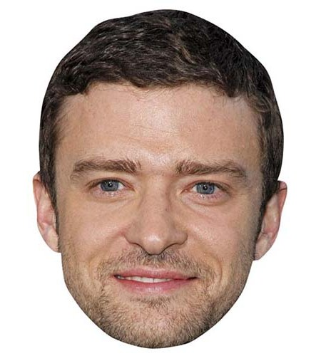 A Cardboard Celebrity Big Head of Justin Timberlake