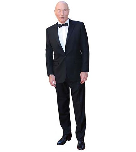 A Lifesize Cardboard Cutout of Patrick Stewart dressed for dinner