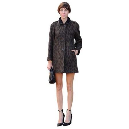 A Lifesize Cardboard Cutout of Alexa Chung wearing a coat and heels