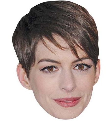 A Cardboard Celebrity Mask of Anne Hathaway