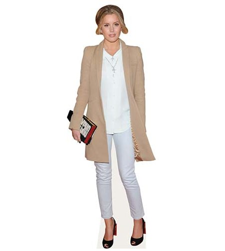 A Lifesize Cardboard Cutout of Caggie Dunlop wearing a coat and trousers