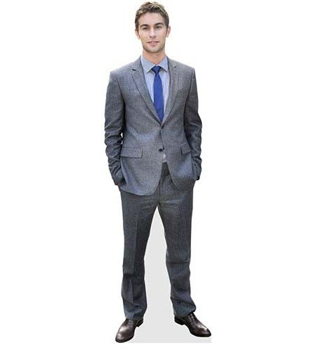 A Lifesize Cardboard Cutout of Chace Crawford wearing suit and tie