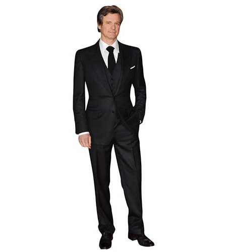 A Lifesize Cardboard Cutout of Colin Firth wearing suit and tie