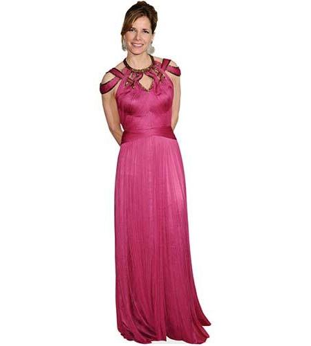 A Lifesize Cardboard Cutout of Darcey Bussell wearing a long pink dress