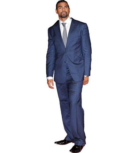A Lifesize Cardboard Cutout of David Haye wearing a blue suit