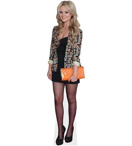 A Lifesize Cardboard Cutout of Emily Atack wearing a jacket and heels