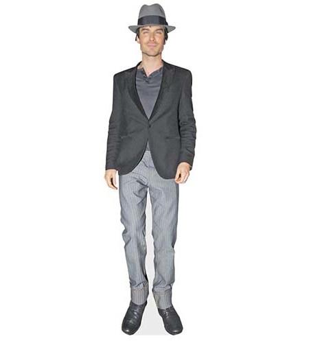 A Lifesize Cardboard Cutout of Ian Somerhalder wearing a hat
